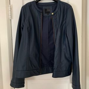 The Limited Dark Blue Faux Leather Jacket